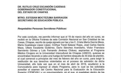 CNDH solicita medidas cautelares para ocho aspirantes de la carrera de medicina en la UNICH