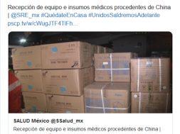Llega a México el cuarto vuelo proveniente de China con insumos médicos
