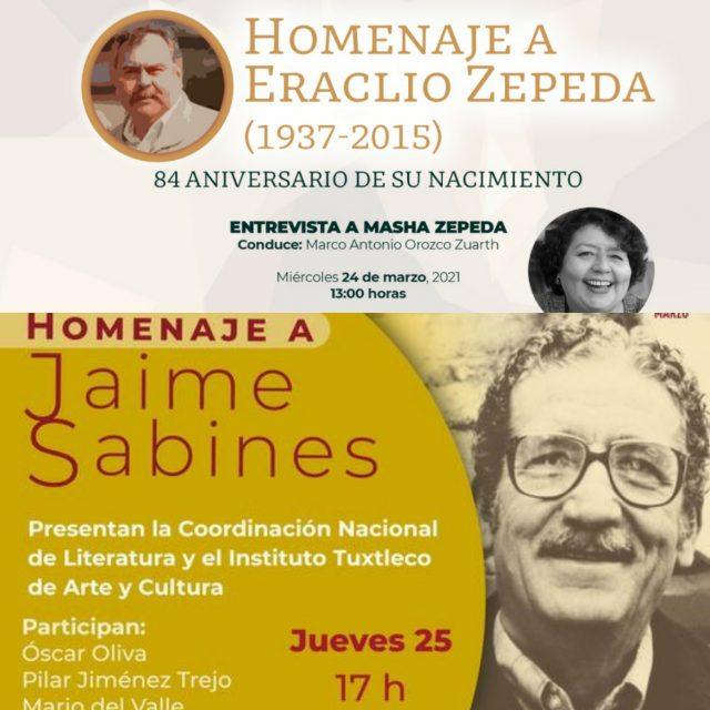 Rendirán homenaje virtual a Eraclio Zepeda y a Jaime Sabines