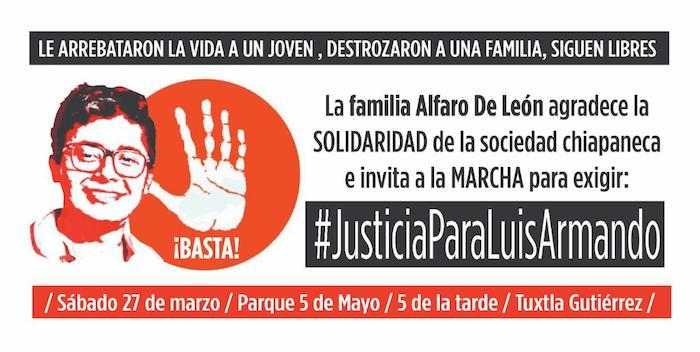 Convocan a marcha para exigir justicia por el asesinato de Luis Armando