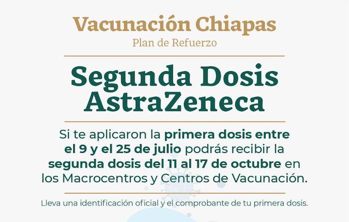 Se reanuda aplicación de segunda dosis AstraZeneca en Chiapas